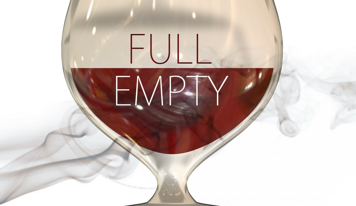glass half full half empty